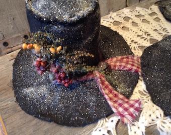 Primitive Grungy  Snowman Hat Ornies  pattern