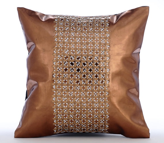 Copper Throw Pillow Covers 16x16 Sequin Embroidered Copper