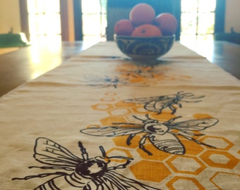 Honeybees Hand Printed Linen Table Runner