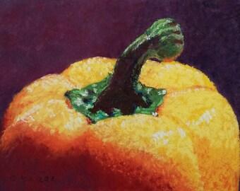 """Small Original Pastel Painting, Yellow Pepper Top, 5 x 7"""", Unframed, Wall Art, Kitchen Art"""