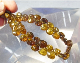 25% Off SALE Rare Petro Tourmaline Briolette Beads,  7mm Natural Brazilian Gemstone Full Strand, Transparent