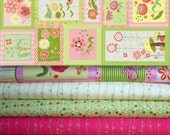 Timeless Treasures - Blossom Lane by Wendy Bentley , 1 yard set of 4 + 1 panel fabric