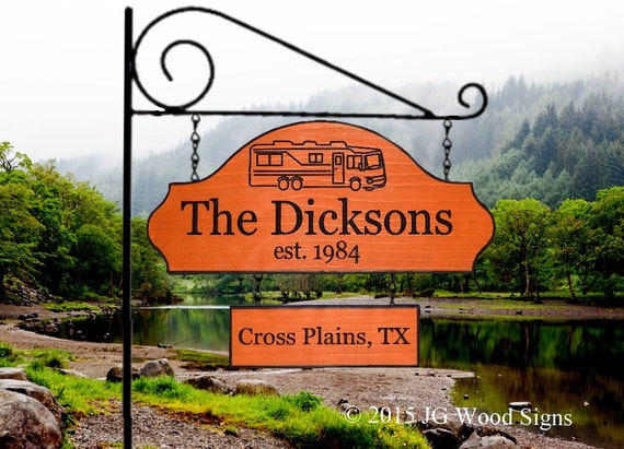Carved Wood Camping Signs - Travel Trailer - Redwood JG Wood Signs Etsy  Custom RV Sign - RV Name Sign