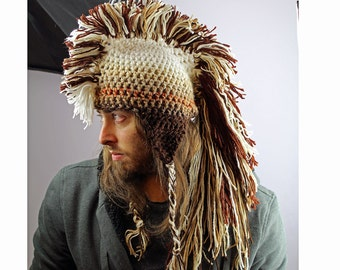 Ombre Mohawk Hat White Earthy Brown Tones