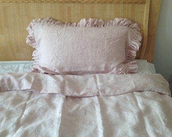 Set of 3 Shabby chic Pre washed 100% Linen Bed Linen Duvet Quilt Cover Ruffles with 2 matching Pillowcases Pink
