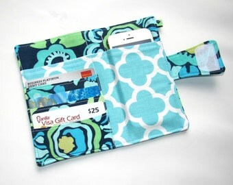 Cellphone iPhone or iPod Wallet,Cellphone Case, Business Card organizer, Loyalty card wallet, Gift Card Holder Deco Rose Navy Ready to Ship