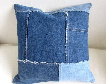 BLUEJEANS repurposed decorative Throw Pillow
