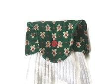 Hanging KitchenTowel, Hanging Bathroom Towel, Christmas Gingerbread Man print, Ready to Ship