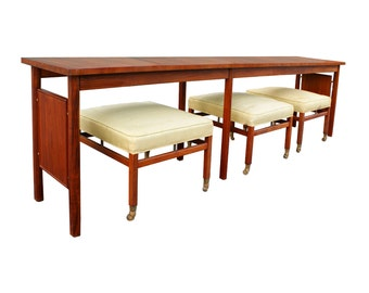 Mid Century Long Console Table with Matching set of 3 Stools by Erwin Lambeth