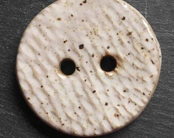 Clay Focal  Button - White Focal Stoneware Rustic Button -  Ceramic Button - Knitting Supply - Sewing Supply