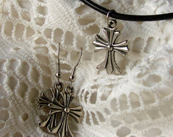 Cross Necklace Set - Antique Silver Necklace & Earring Set - Necklace and Earring Set - Christian Jewelry Set - Cross Jewelry