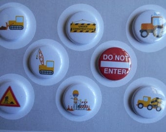 Construction Flair Buttons-YOU CHOOSE STYLE