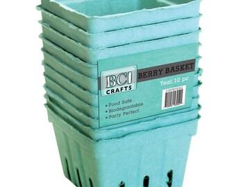 10 x Teal Berry Basket