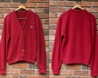 FUZZY VALENTINE: Vintage IZOD Lacoste Maroon Orlon Acrylic Button Front Cardigan Sweater, Fold-Up Cuffs, Ribbed Hem, Perfectly Pilled Medium