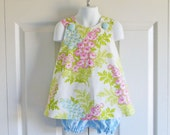 REVERSIBLE Crossback Pinafore Top and Bloomers Set for baby or toddler - 3 mos to 5 - Picnic Bouquet - Nicey Jane collection - OUT of print!