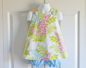 REVERSIBLE Cross Back Pinafore Top and Bloomer Set for baby or toddler - 3 mos to 5 - Picnic Bouquet - Nicey Jane collection