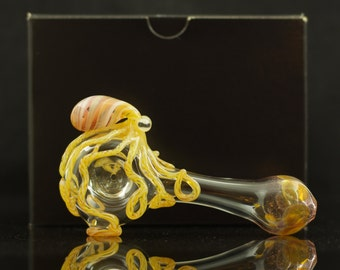 Octopus Large Glass Spoon Pipe Hand Blown Thick Wall in Clear & Artist Swirl, Ready to Ship #236