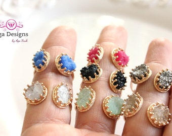 Druzy rings - Gold Plated - set of two druzies