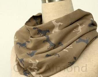 Horse Print Design Scarf.Gray-green  infinity scarf. Viscose infinity scarf.