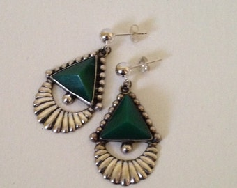 Vintage Sterling Silver Earrings with Jade Pyramid Stones, Pieced Earrings