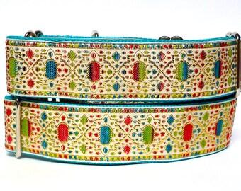 "martingale dog collar 1.5"" wide, MARDI GRAS cream, teal and red, Safety Collar, Greyhound Collar, Sighthound Collar, Adjustable"