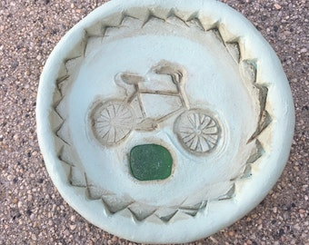 Let's Go For A Ride... Sea Glass Handmade Trinket Dish