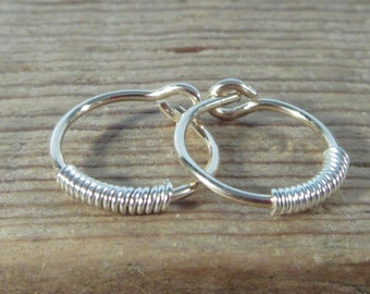 Hoop Earrings Gold with Silver Wrap - Wrapped Hoops, Gold Hoop Earring, Tiny Hoop Earrings, Minimal Hoops, Simple Hoops, Small Hoop Earrings