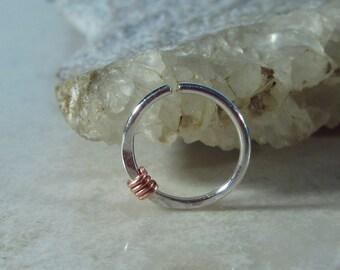 Nose & Septum Ring Sterling Silver with Copper Wrap - Nose Ring, Septum Ring, Wrapped Nose Ring, Delicate Nose Ring, Silver Septum Ring
