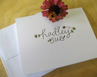 Personalized Notecards for Little Ones, Handwritten, Folded or Flat