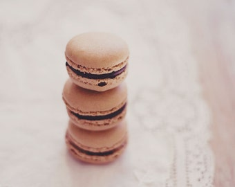 Still Life Photography - Food Photo Kitchen Art Chocolate Macarons Food Art Whimsical Print Laudree French Feminine Still Life Food Photo