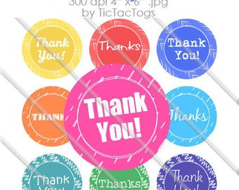 Colorful Thank You Patterned 1 Inch Circles Bottle Cap Images Collage 4x6 - Instant Download - BC572