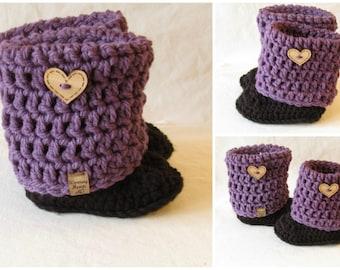 Custom Crocheted Slipper Boots, Custom Order, Spring Wear, Fall, bulky, color options, Boy, Girl, footwear,