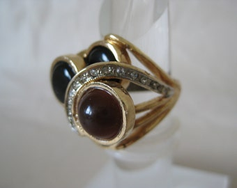 Chunky Modern Black Brown Gold Ring Vintage 6 Rhinestone Clear Mod