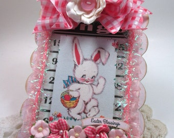 cottage easter decor-EASTER BUNNY-altered art plaque