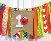 Special Listing for mscantu26          Elmo theme high chair banner-rag tie banner-burlap banner-photo prop-1st Birthday-cake smash