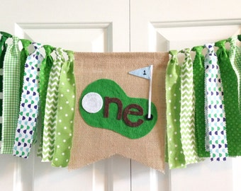 "One birthday banner ~Hole in ""one"" Golf theme high chair banner ~party banner ~cake smash ~photo prop ~ 1st Birthday ~rag tie banner"