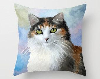 Throw Pillow Cover Cushion Case Home Decor Cat 572 Calico art painting Lucie Dumas