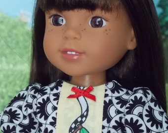 Black and White with Cherries on Top Dress for 14.5 inch girl dolls