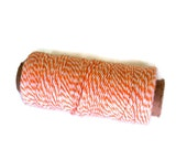 Hemptique Baker's Twine Destash, Orange and White, 410 Feet , 1mm Wide, Scrap Booking, Gift Wrapping, Small Bit Gone