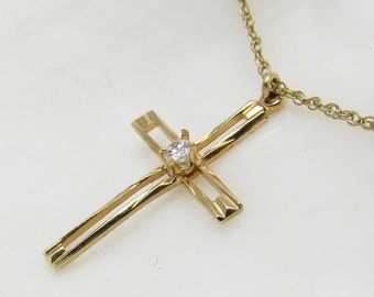 Gold Filled Cross Necklace Small Pendant Vintage Jewelry N7150