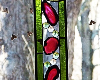 Stained Glass, Geode Slice Panel, Stunning Deep Pink, Druzy Slice
