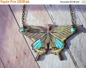 Giant Moth Necklace , Taupe and Blue Neutral Shades, Butterfly Pendant