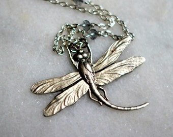 Dragonfly Pendant, Silver Necklace, Long Necklace, Crystal Chain, Swarovski Crystal