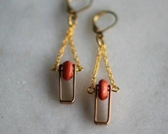Geometric Brass Earrings, Pink Rhodonite Dangles, Antiqued Brass, Vintage Connectors - Pink Gemstone, Spinner Earrings