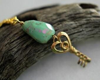 Gold Key Pendant, Green Chrysoprase, Gold Brass, Ornate Key, Mystic Green, Chunky Gemstone, Faceted, Under 10