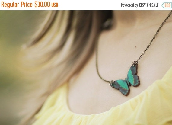 Teal Butterfly Necklace Blue Green Wood Insect Wings Pendant Gift for Her Under 25 Nature Lover