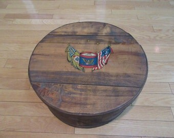 Large old wood cheese box with lid- decorative top- some rim wear under the lid, beautiful and great rustic home decor