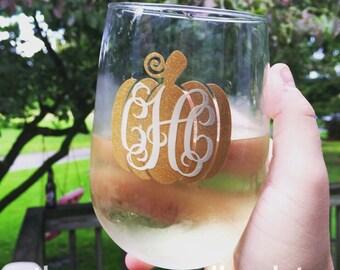 Monogram Gold Glitter Pumpkin Fall Wine Glass