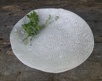 White serving platter with lace