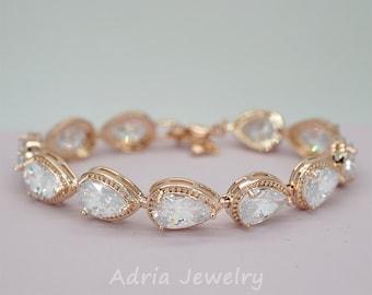 Rose Gold Wedding Bracelet Teardrop Crystals Bridal Bracelet Rose Gold Bracelet Rhinestone Bracelet Crystals Bridal Jewellery